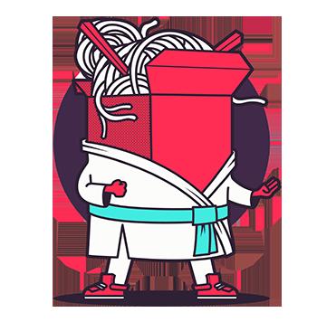 Formations en contenu SEO. Une boîte de nouilles est habillée en kimono et s'apprête à combattre.